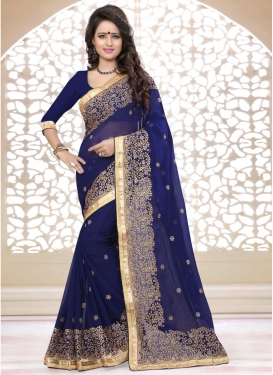 Graceful Stone And Lace Work Party Wear Saree