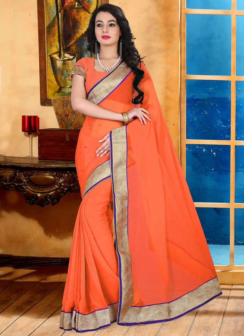 Graceful Stone Work Faux Chiffon Casual Saree