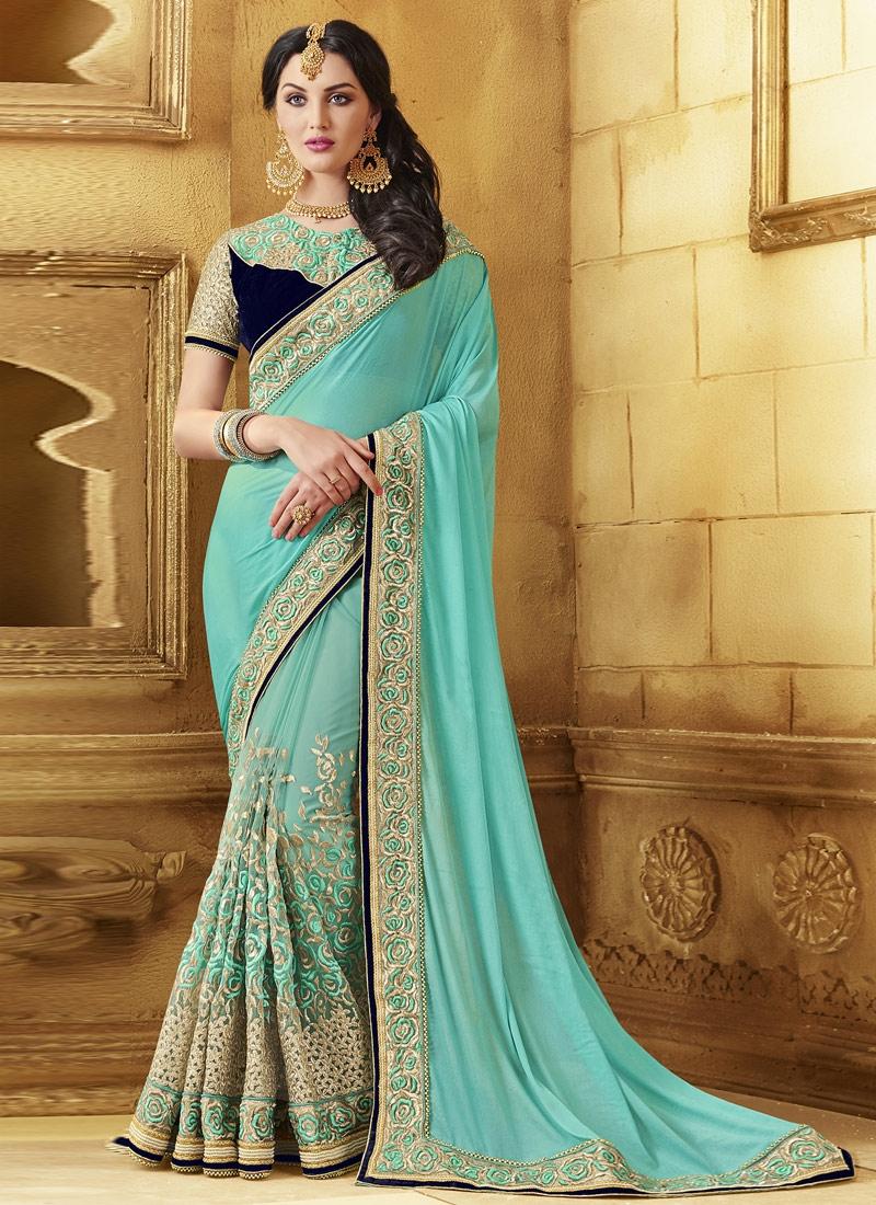 Grandiose Aqua Blue Color Resham Work Designer Saree