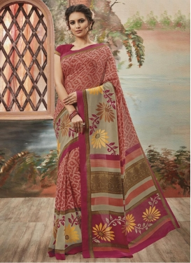 Grandiose Beige and Fuchsia  Art Silk Classic Saree