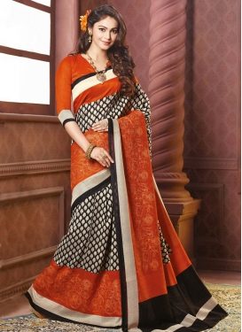 Grandiose Black And Orange Color Party Wear Saree