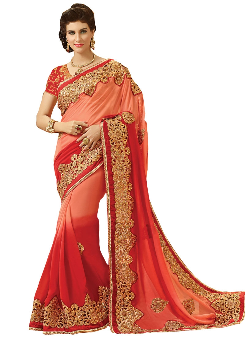 Grandiose Booti And Embroidery Work Bridal Saree