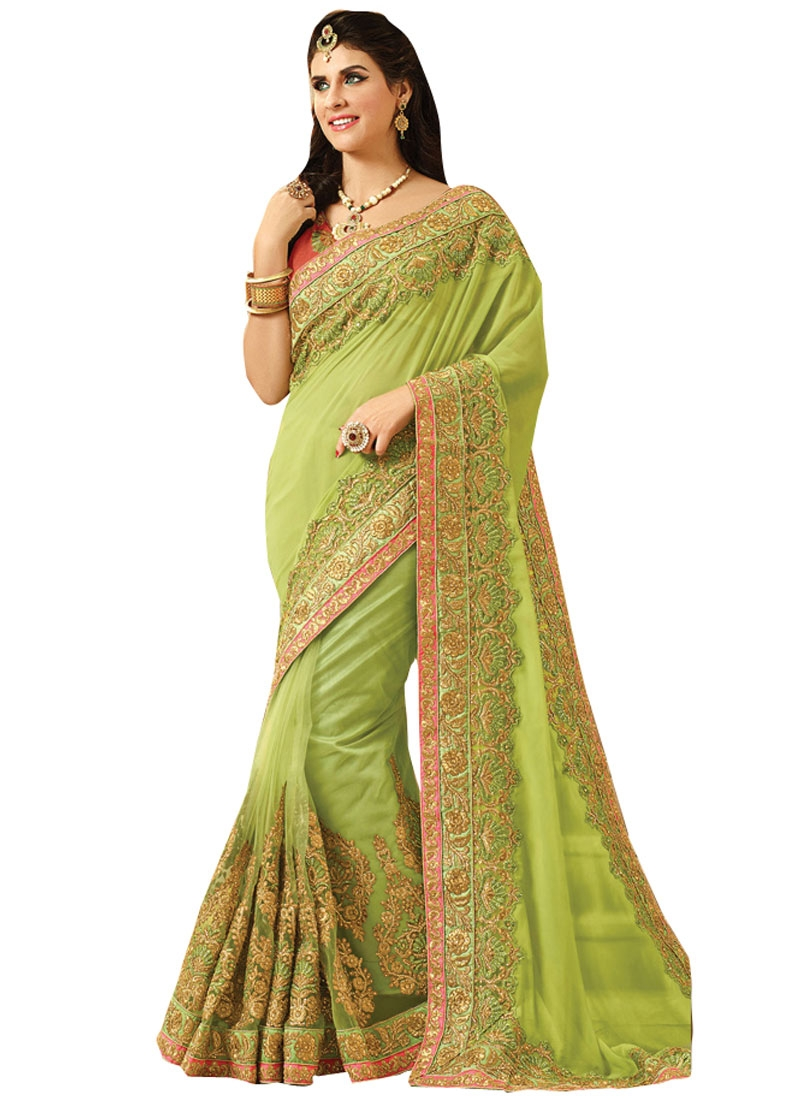 Grandiose Booti And Stone Work Bridal Saree