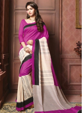 Grandiose  Cream and Magenta Print Work Contemporary Saree