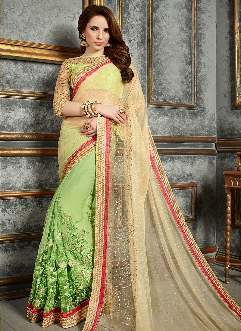 Grandiose Cream And Mint Green Color Half N Half Party Wear Saree