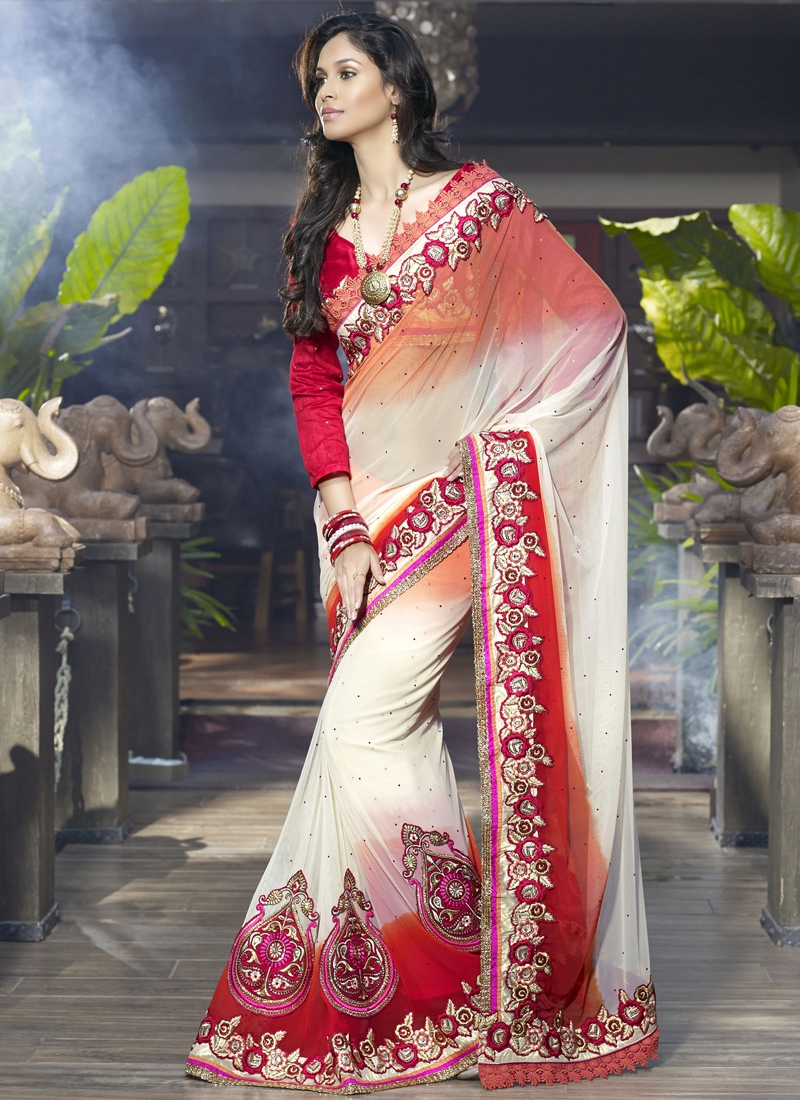 Grandiose Cream And Red Wedding Saree