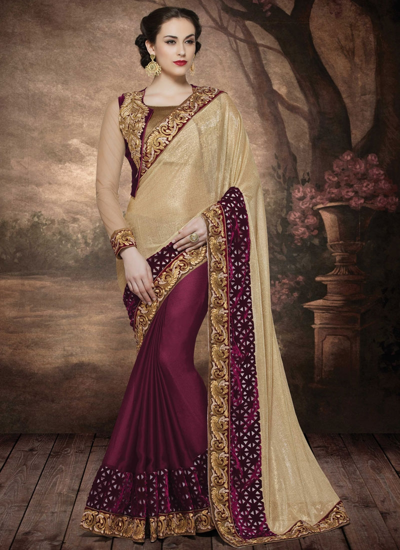 Grandiose Cut Work Half N Half Designer Saree