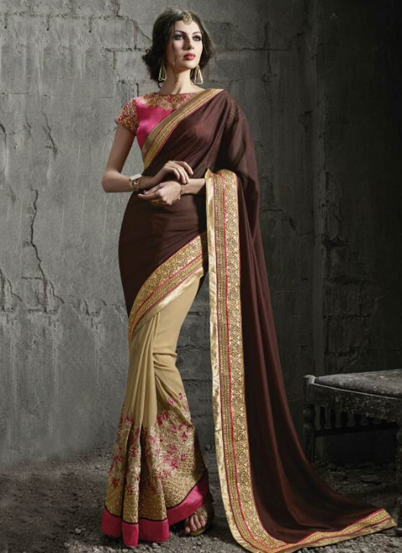 Grandiose Floral And Resham Work Half N Half Designer Saree