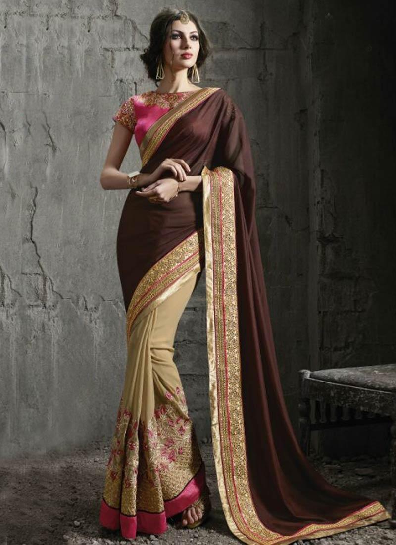 Grandiose Floral And Resham Work Half N Half Designer Saree