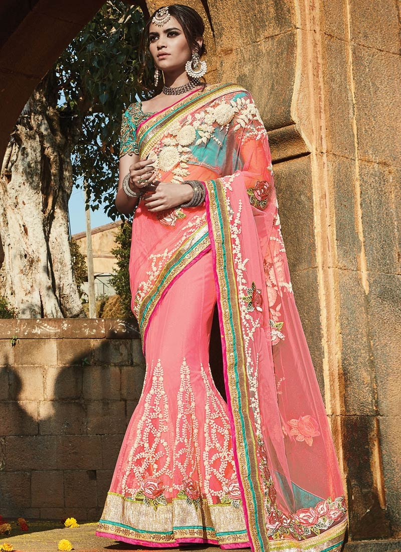Grandiose Floral And Stone Work Designer Lehenga Saree