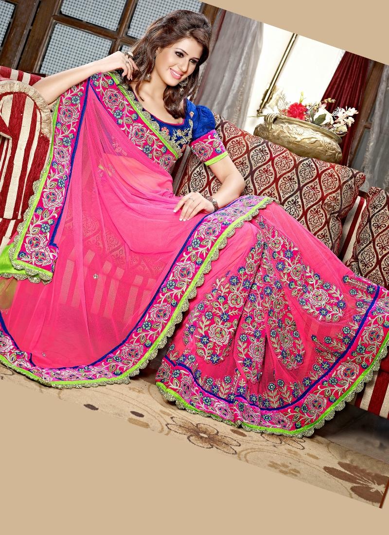 Grandiose Lace And Patch Work Lehenga Saree