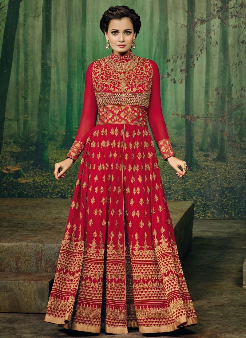 Grandiose Mirror Work Dia Mirza Floor Length Designer Salwar Kameez