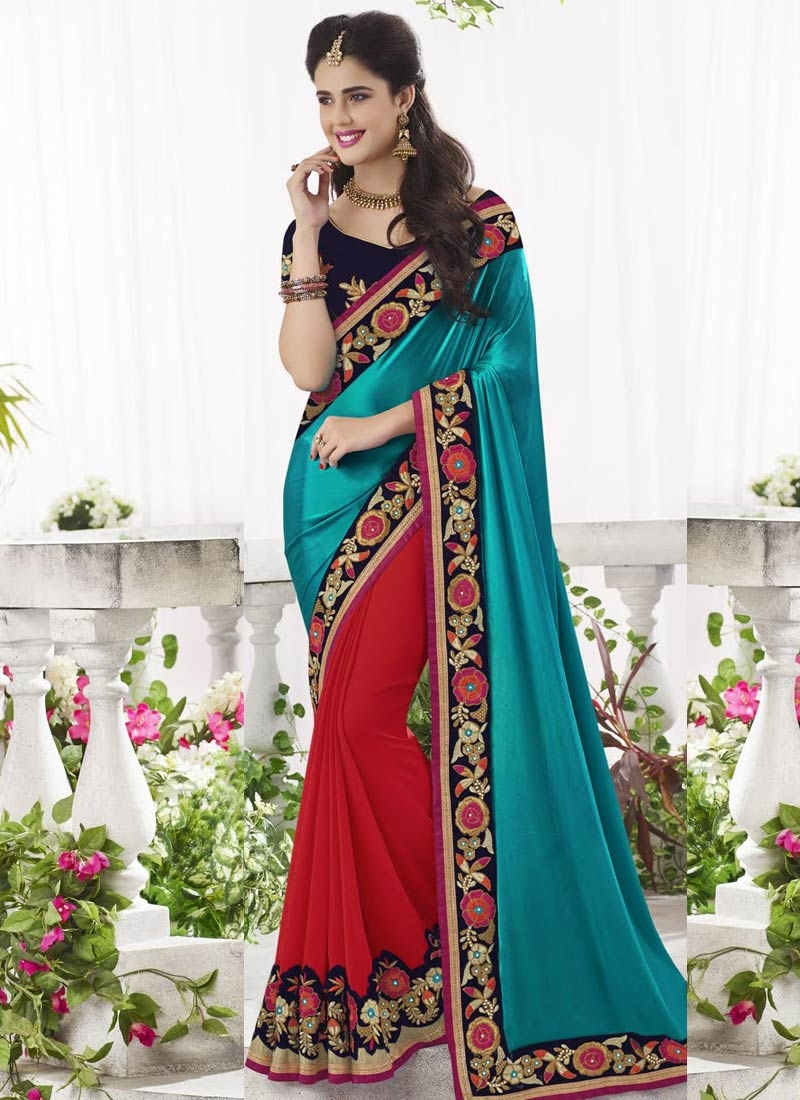 Grandiose Patch Border Work Half N Half Designer Saree
