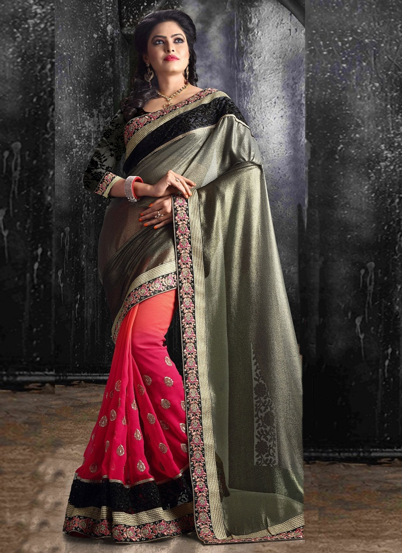 Grandiose Patch Border Work Half N Half Party Wear Saree