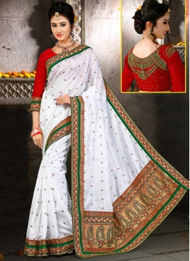 Grandiose Red and White  Designer Contemporary Style Saree