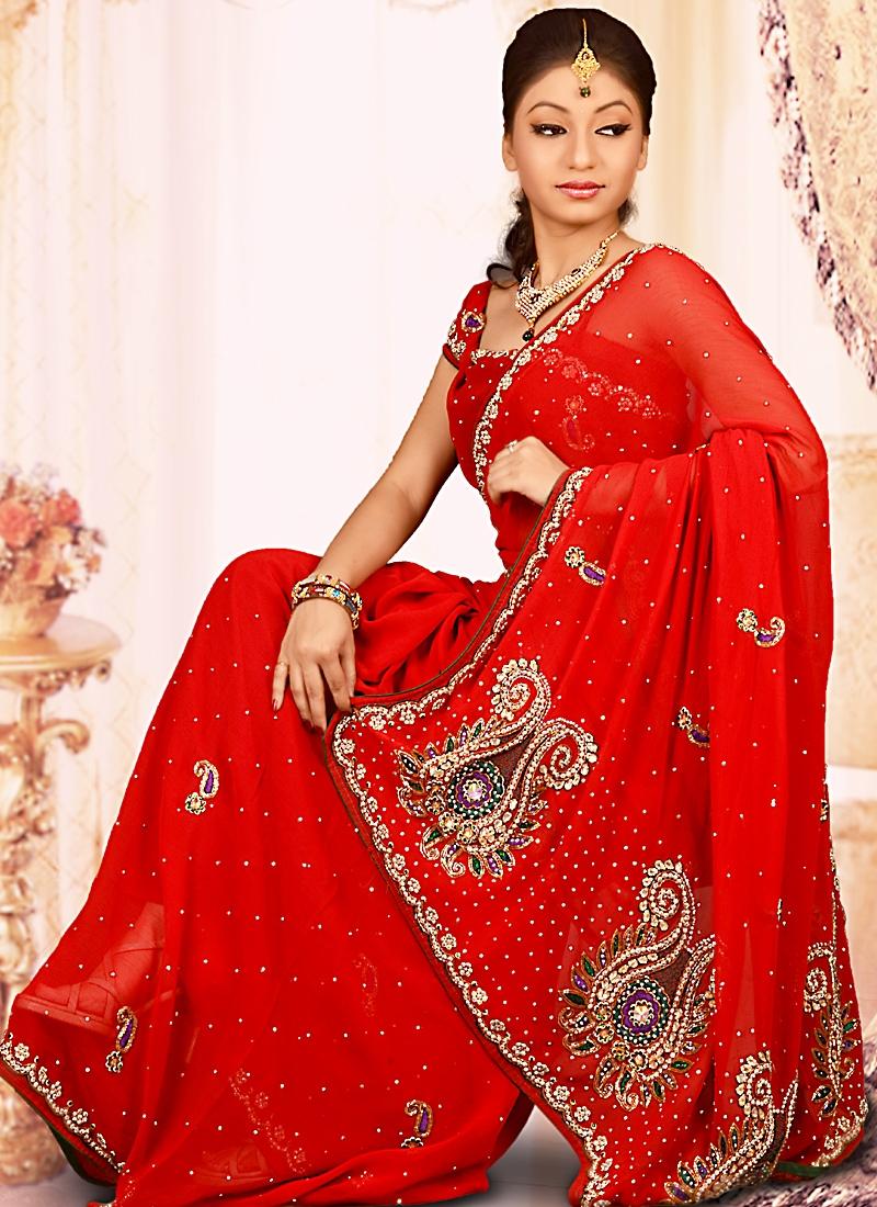 Grandiose Red Chiffon Saree