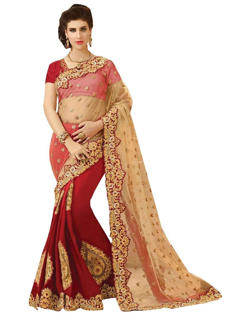 Grandiose Red Color Booti Work Half N Half Bridal Saree