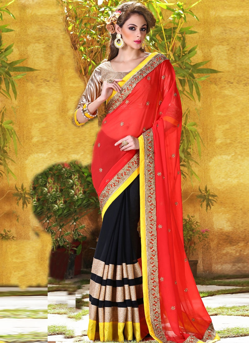 Grandiose Red Color Half N Half Designer Saree