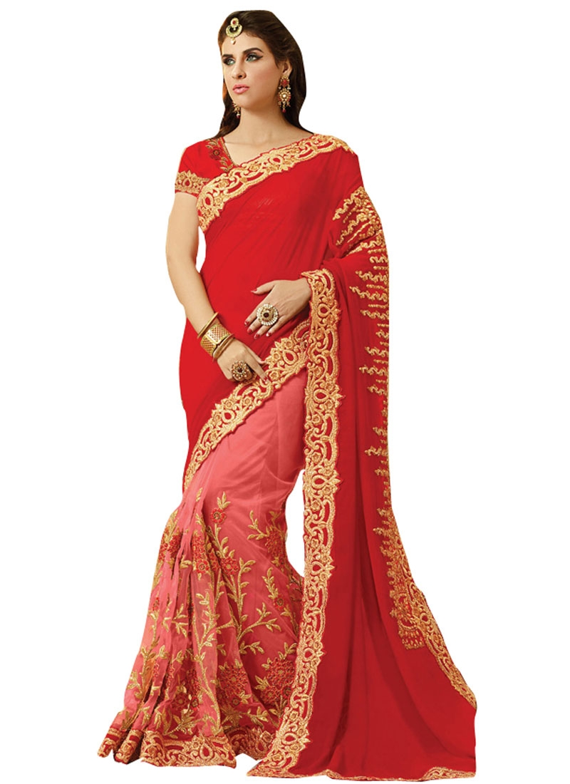 Grandiose Red Color Viscose Half N Half Bridal Saree