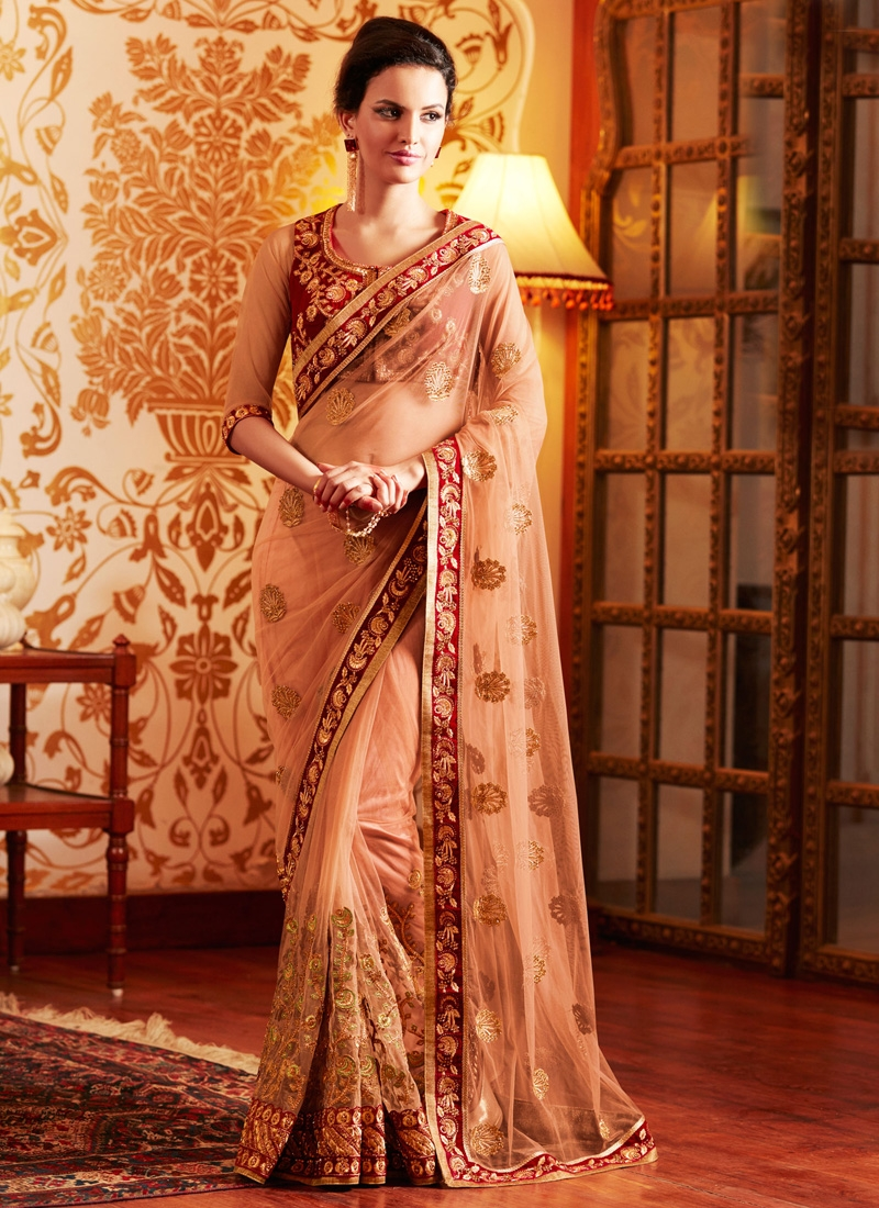 Grandiose Resham And Lace Work Wedding Saree