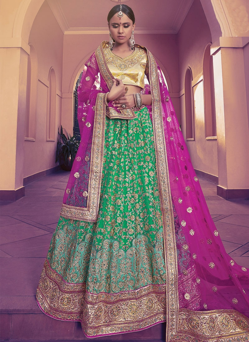 Grandiose Resham And Stone Work Green Color Bridal Lehenga Choli