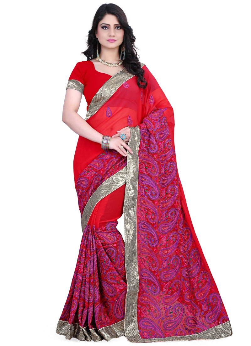 Grandiose Resham Work Red Color Wedding Saree