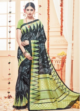 Gratifying Art Silk Black and Olive Traditional Saree For Casual