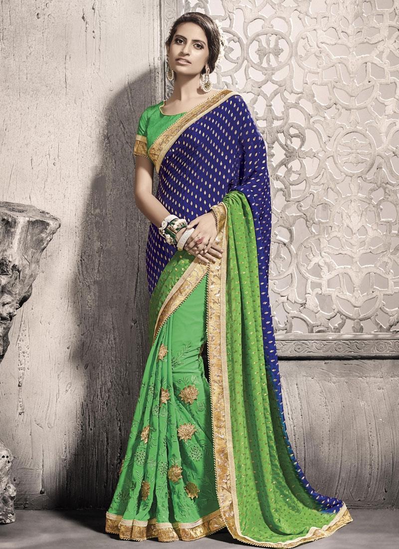 Gratifying Beads Work Navy Blue Color Half N Half Wedding Saree