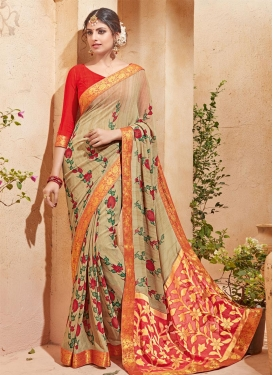 Gratifying  Beige and Red Trendy Classic Saree For Ceremonial
