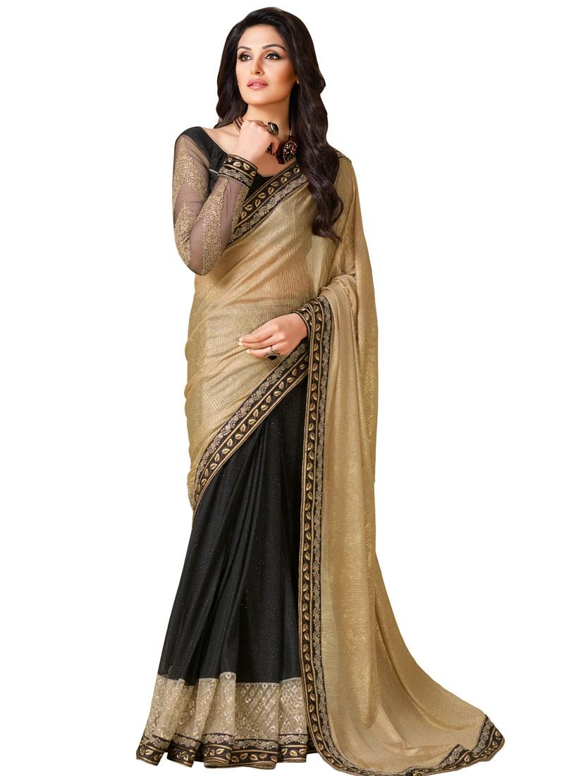 Gratifying Black Color Crush Half N Half Designer Saree