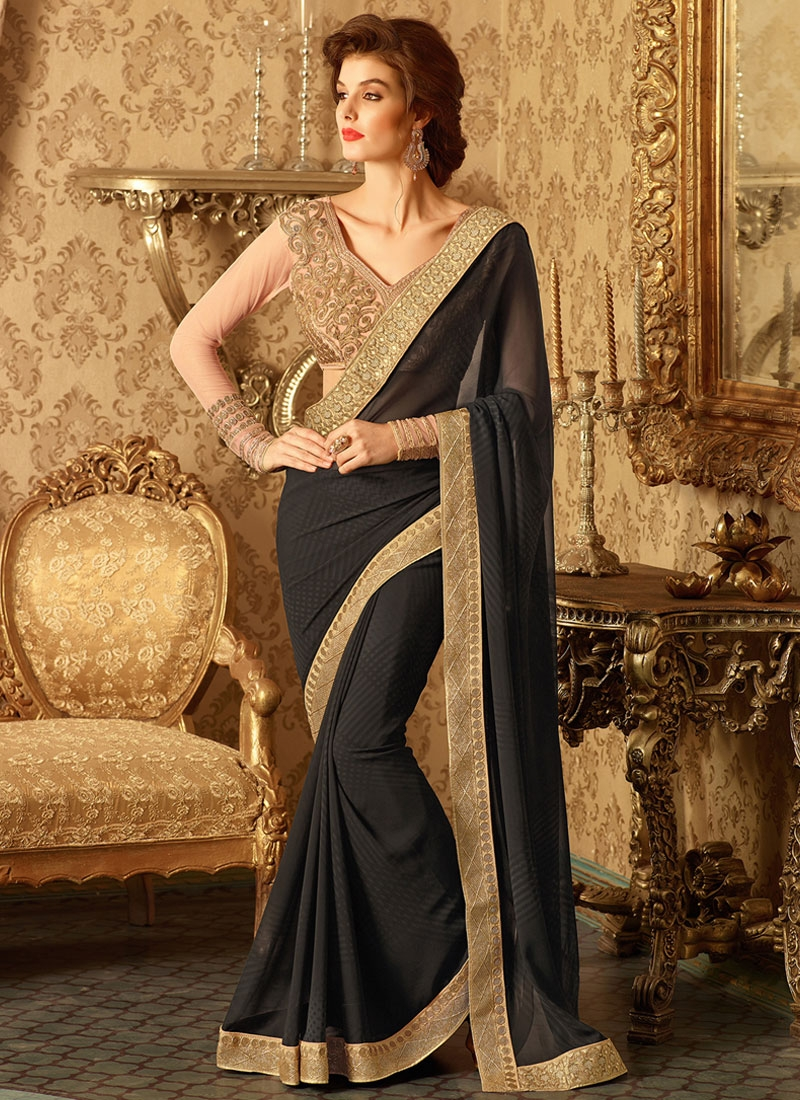 Gratifying Black Color Party Wear Saree