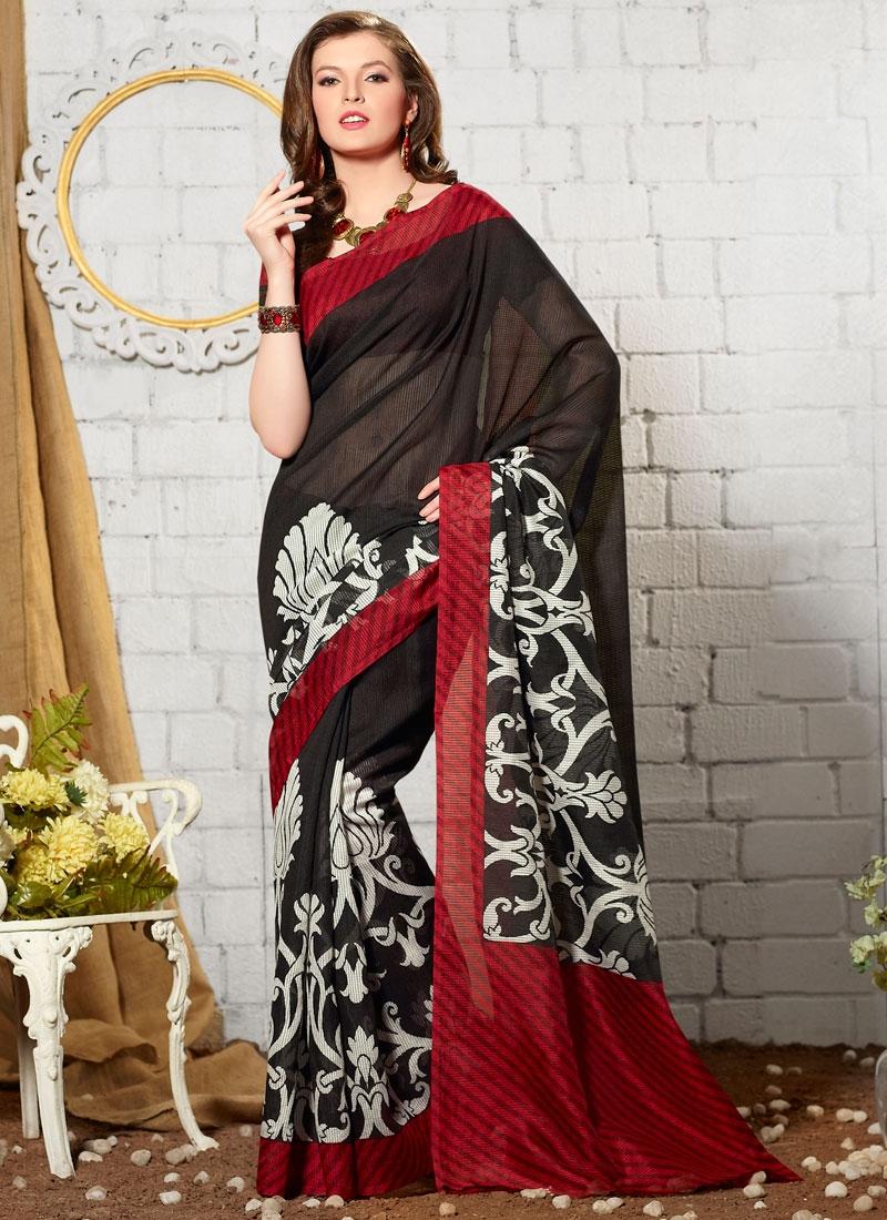 Gratifying Black Color Printed Casual Saree