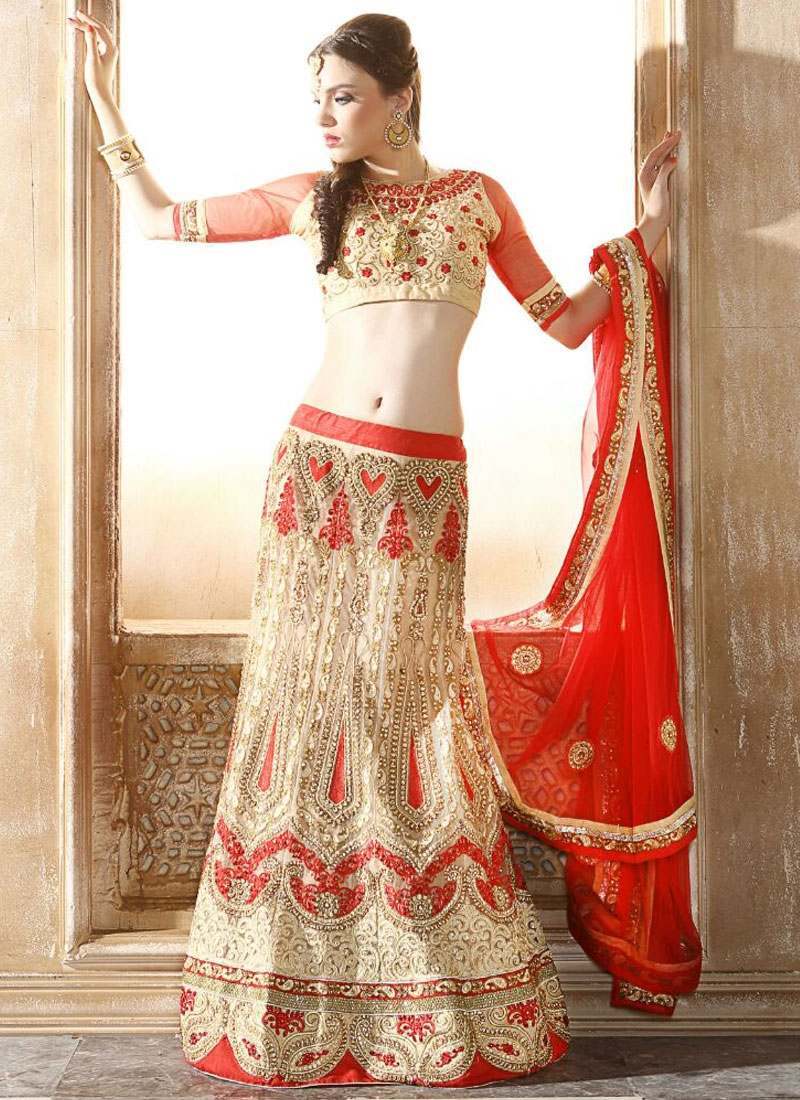 Gratifying Booti And Stone Work Bridal Lehenga Choli