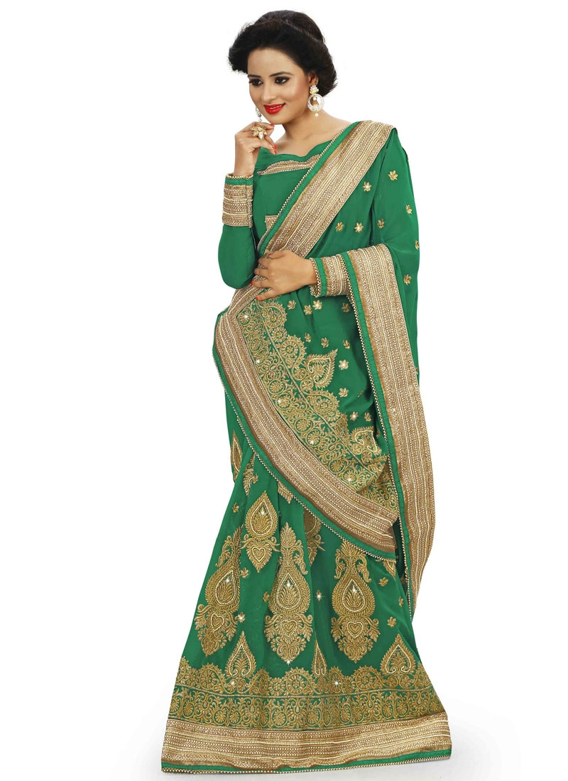 Gratifying Booti Work Pure Georgette Wedding Saree