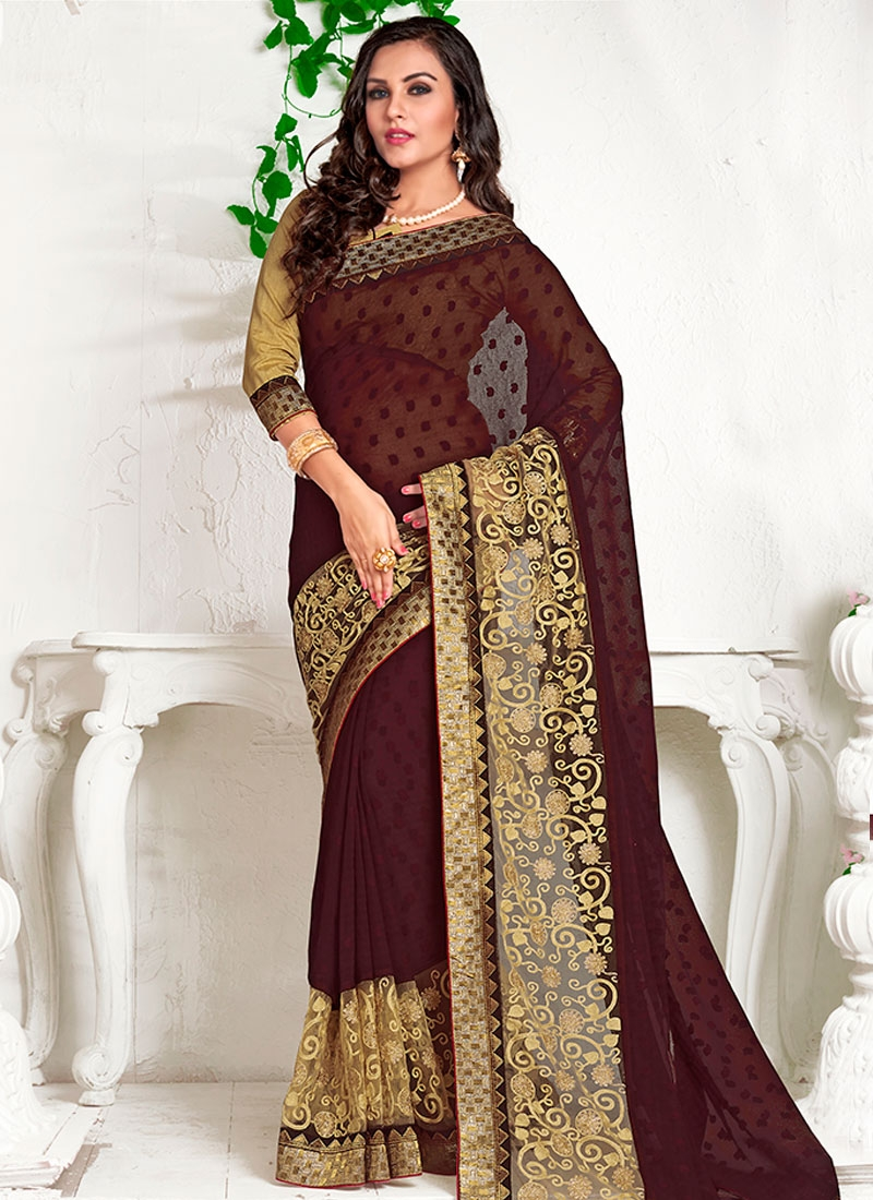 Gratifying Coffee Brown Color Party Wear Saree
