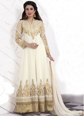 Gratifying Embroidery Work Anarkali Salwar Suit