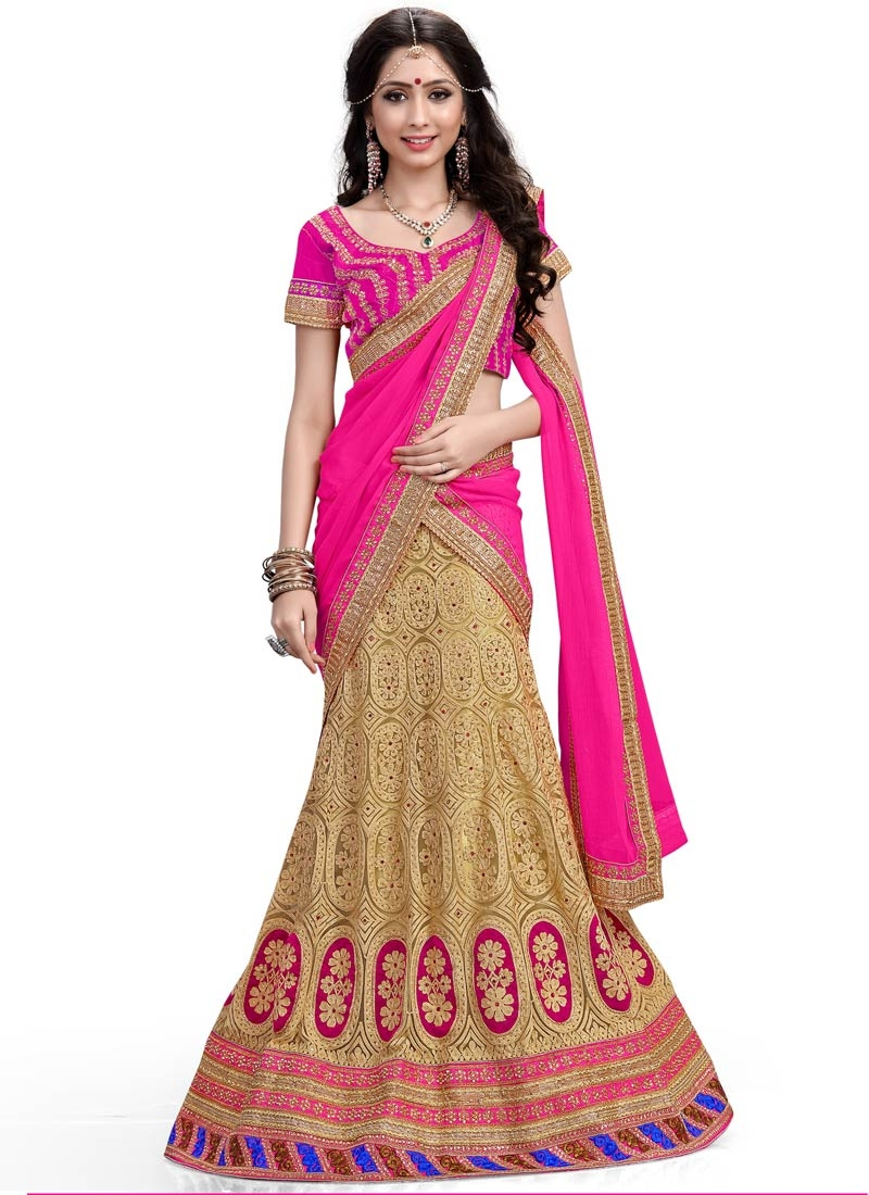 Gratifying Embroidery Work Net Wedding Lehenga Choli