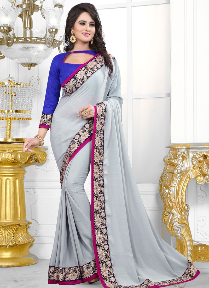 Gratifying Faux Chiffon Lace Work Casual Saree