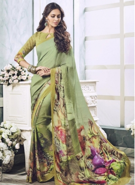 Gratifying Faux Georgette Digital Print Work Trendy Classic Saree