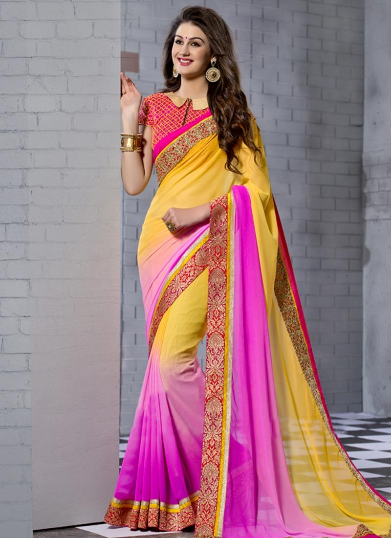 Gratifying Faux Georgette Yellow Color Party Wear Saree
