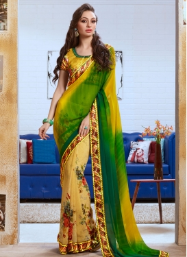Gratifying Green Color Half N Half Party Wear Saree