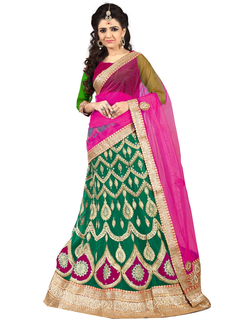 Gratifying Green Color Net Wedding Lehenga Choli