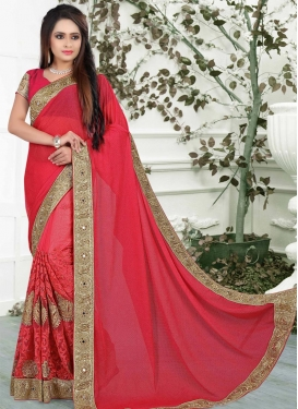 Gratifying Lycra Booti Work Designer Contemporary Style Saree