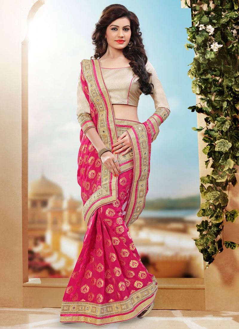 Gratifying Mirror And Stone Work Wedding Saree