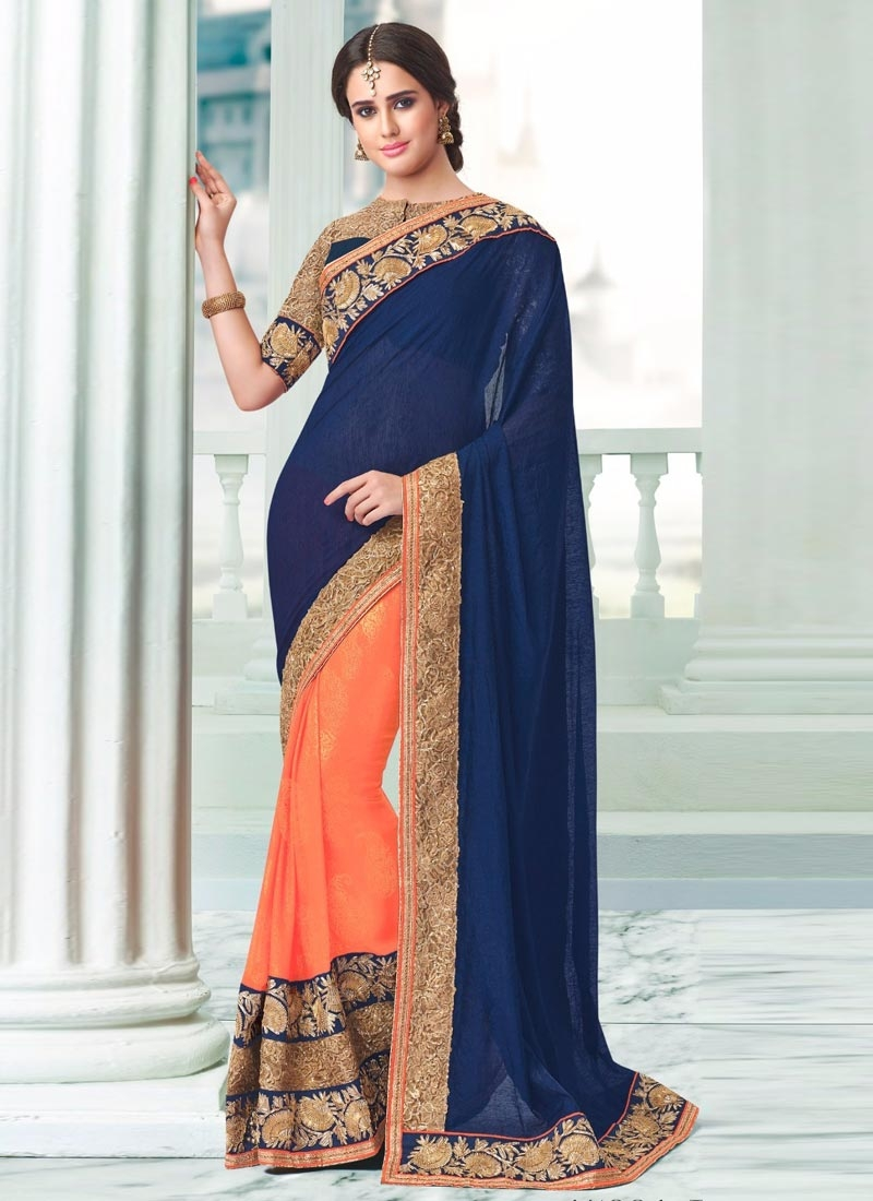 Gratifying Navy Blue And Peach Color Half N Half Party Wear Saree