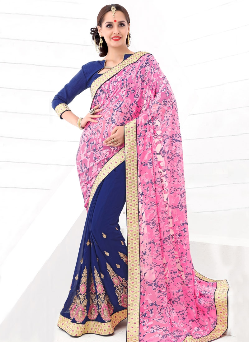 Gratifying Navy Blue And Pink Color Half N Half Party Wear Saree