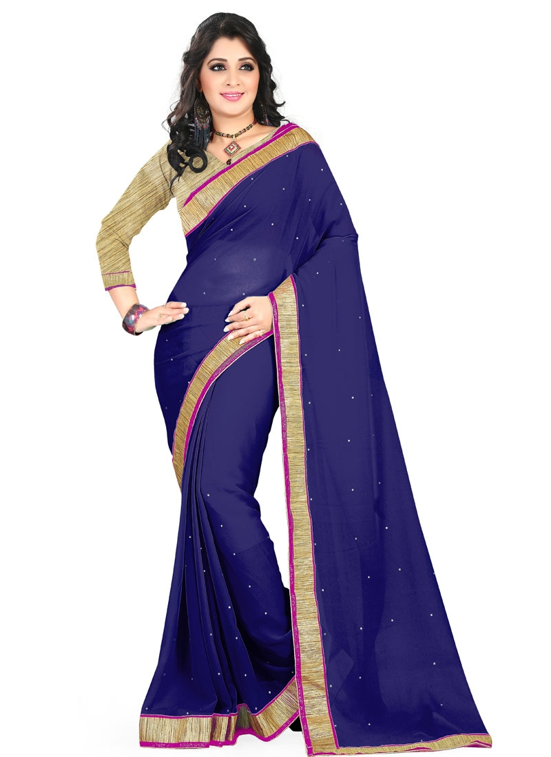 Gratifying Navy Blue Color Lace Work Casual Saree