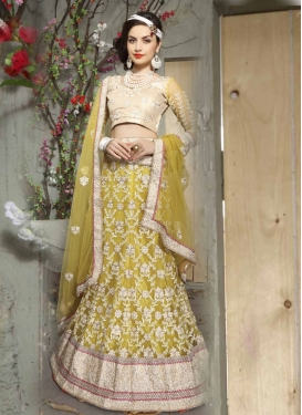 Gratifying Resham And Beads Work Bridal Lehenga Choli