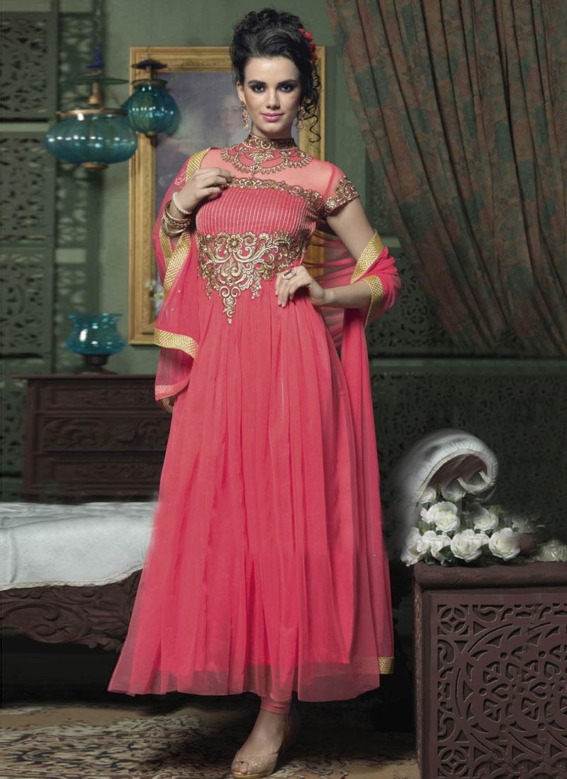Gratifying Resham Enhanced Long Length Anarkali Salwar Suit