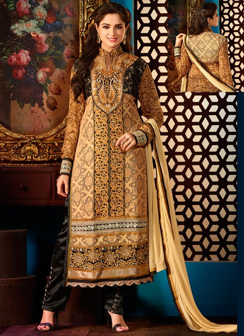Gratifying Resham Work Georgette Designer Salwar Kameez